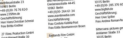 Über 600 deutsche Film– und TV– Produktionsgesellschaften im Überblick